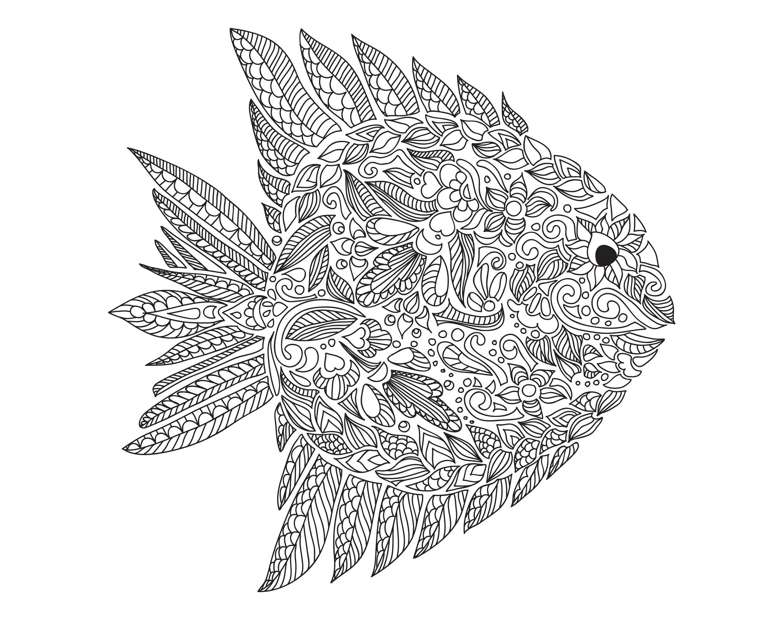 Superbe coloriage pour adulte de poisson, style Zentangle, par ArtnataliiaA partir de la galerie : Mondes Aquatiques