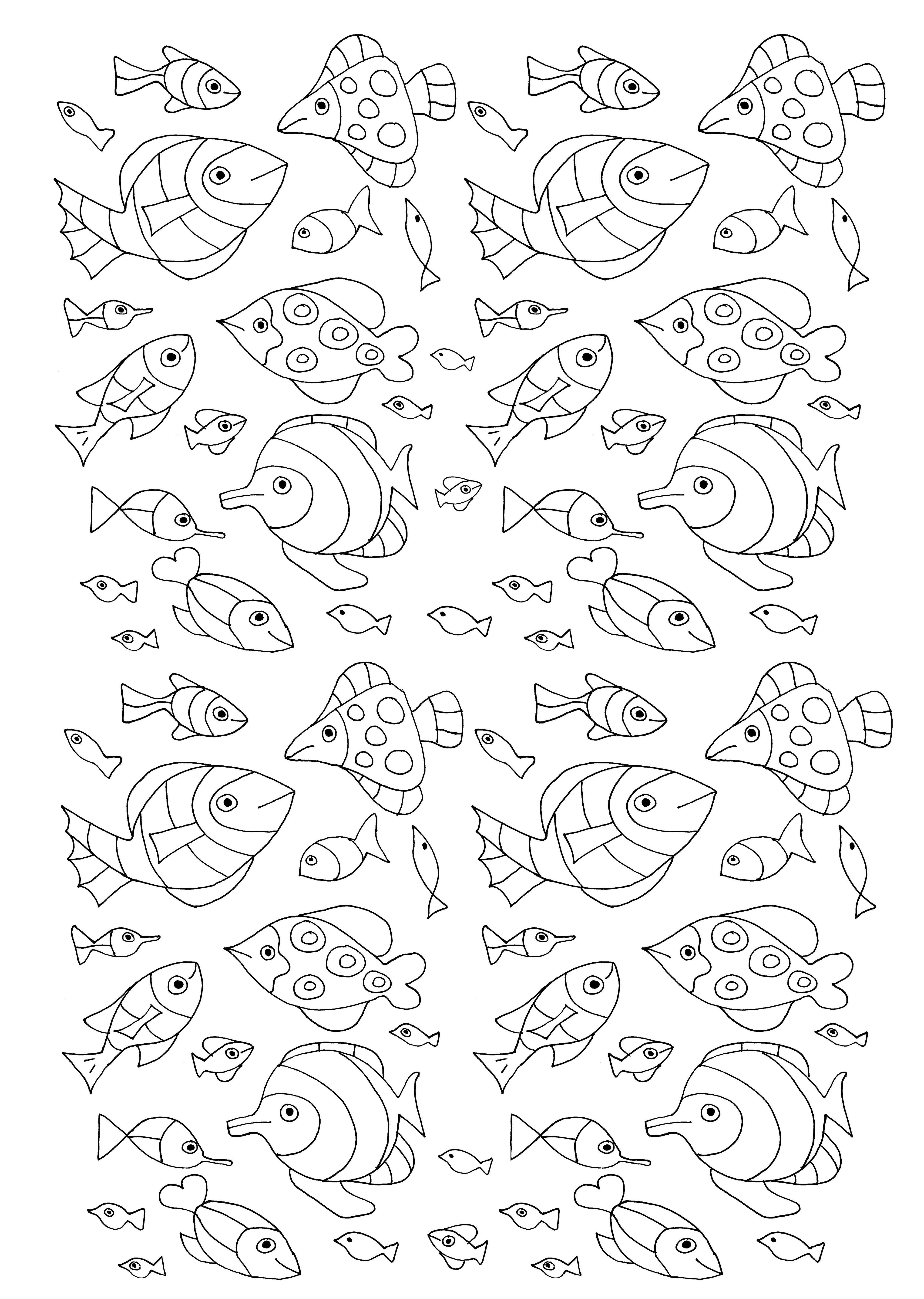 De nombreux poissons pour un coloriage aquatiqueA partir de la galerie : Mondes AquatiquesArtiste : Olivier