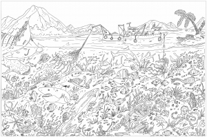 coloriage-adulte-complexe-fonds-marins free to print