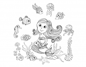 coloriage-adulte-sirene-et-poissons-par-amalga free to print