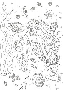 coloriage-adulte-sirene-et-poissons free to print