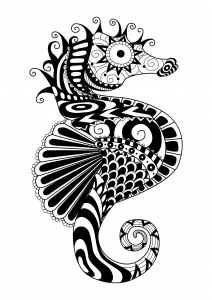 coloriage-adulte-zentangle-hyppocampe-par-bimdeedee free to print
