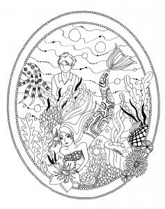 coloriage-le-jardin-de-la-petite-sirene-par-azyrielle free to print