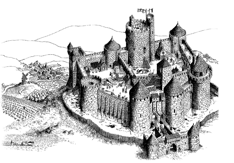 Gravure / Plan très détaillé, brique par brique, d'un château fort français de l'époque des seigneursA partir de la galerie : Moyen Age