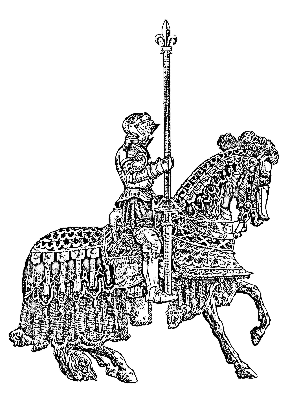 Coloriage plein de détails d'un chevalier du moyen âge, en armure et sur son chevalA partir de la galerie : Moyen Age
