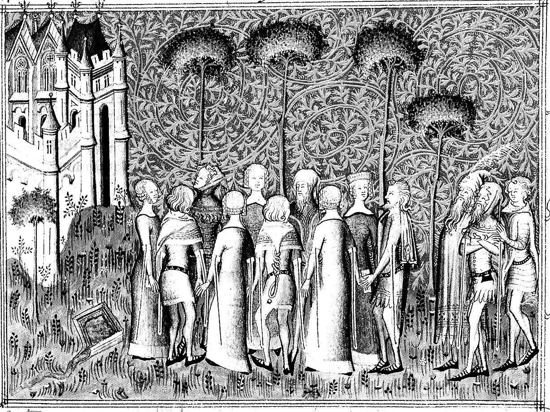 Peinture médiévale mise en noir et blanc et dont le contraste a été accentué, pour devenir un coloriage adulte sur le thème du Moyen âgeA partir de la galerie : Moyen Age