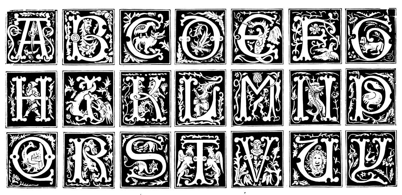 Des lettres d'alphabet représentées au Moyen âge, avec motifs variés : végétaux, personnages (théâtre), animaux, etc ...A partir de la galerie : Moyen Age
