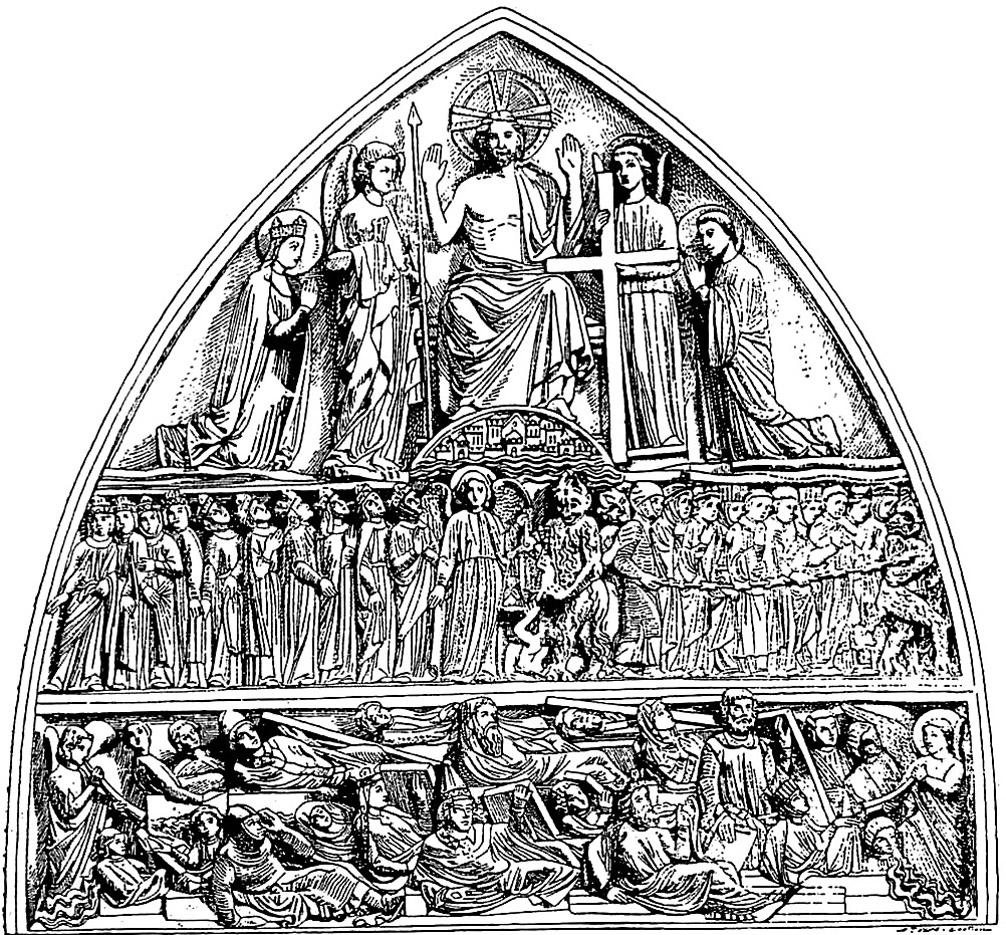 Gravure du fronton d'une église, avec nombreux personnages religieux répartis de manière harmonieuseA partir de la galerie : Vitraux