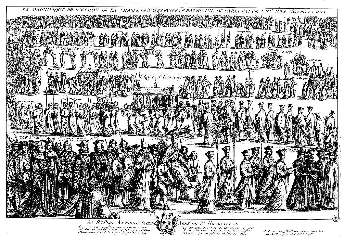 Une gravure d'une impressionnante procession religieuse, beaucoup de personnages à colorier !A partir de la galerie : Moyen Age