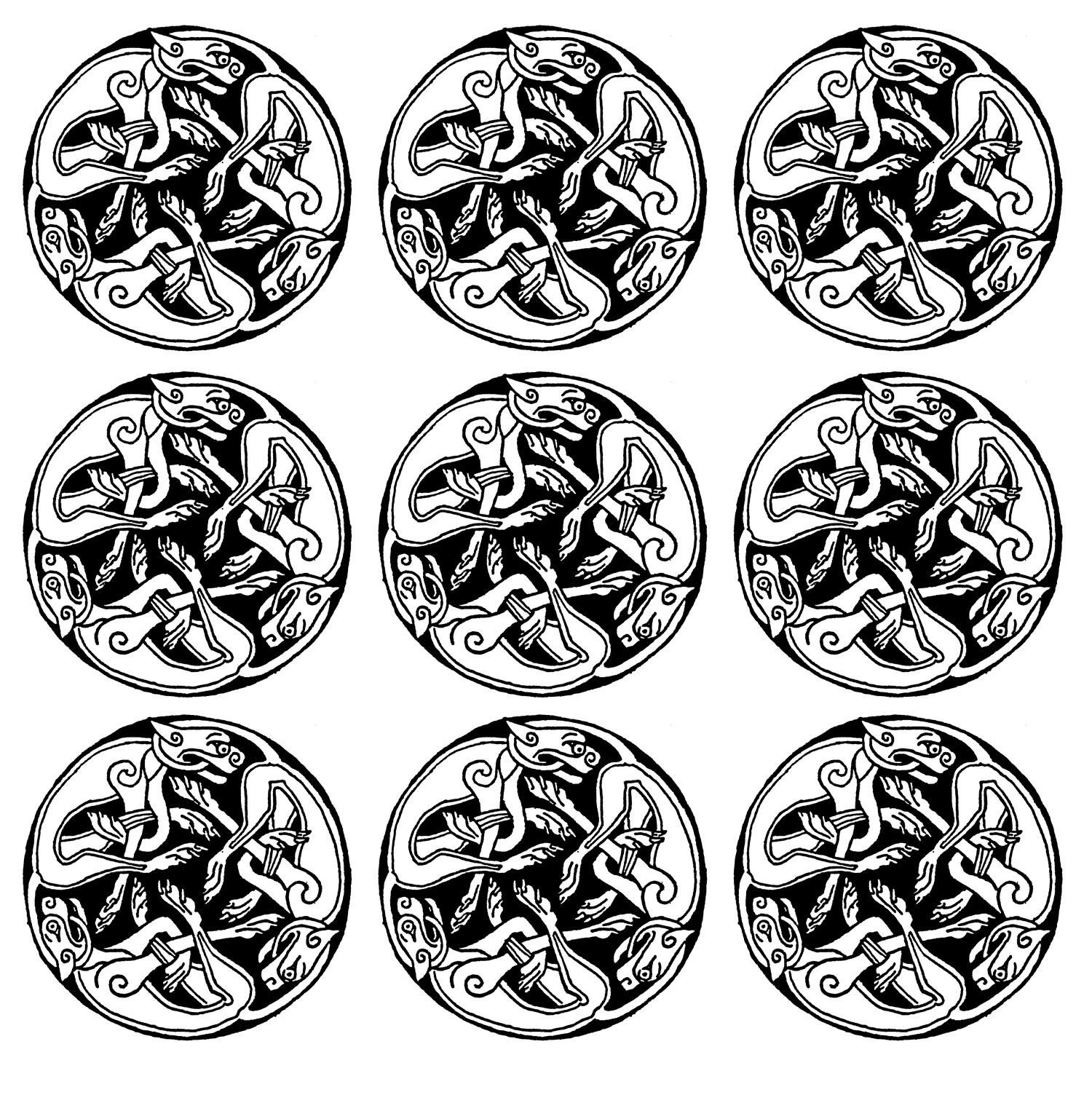 9 motifs répétés représentant des gargouilles... Une sorte de Mandala du Moyen âge assez intriguantA partir de la galerie : Moyen Age