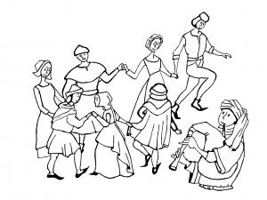 coloriage-adulte-moyen-age-danse free to print