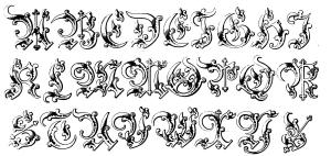 coloriage-alphabet-moyen-age free to print