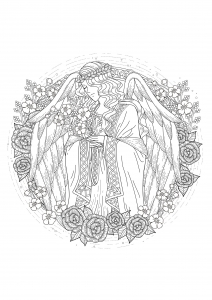 coloriage-adulte-ange free to print