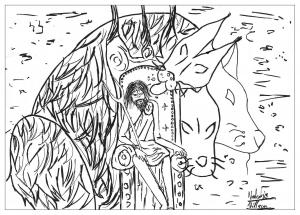 coloriage-adulte-dessin-Hades-et-cerber free to print