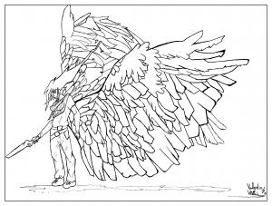 coloriage-adulte-dessin-Homme-ailes-par-valentin free to print