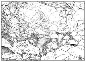 coloriage-adulte-dessin-Paysage-feerique-champignon-par-valentin free to print
