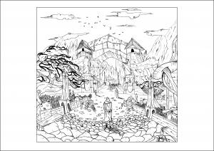 coloriage-adulte-dessin-coloriage-paysage-par-valentin free to print