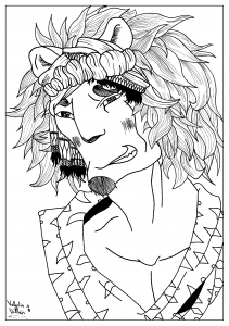 coloriage-adulte-dessin-homme-lion-par-valentin free to print