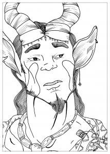 coloriage-adulte-dessin-satyre-par-valentin free to print