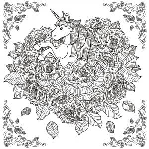 coloriage-adulte-licorne-mandala-par-kchung free to print