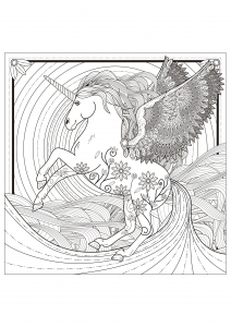 coloriage-adulte-licorne free to print