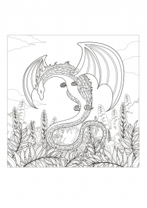 coloriage-adulte-monstre-dragon free to print