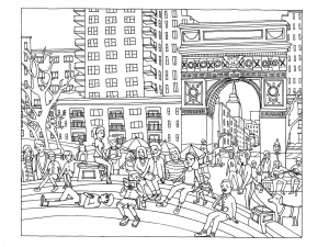 coloriage-adulte-New-York-Washington-Square free to print