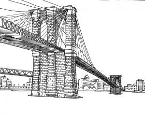 coloriage-adulte-new-york-pont-brooklyn free to print