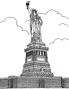 coloriage-adulte-new-york-statue-liberte free to print