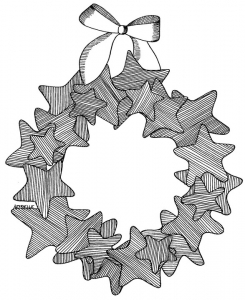 coloriage-couronne-noel free to print