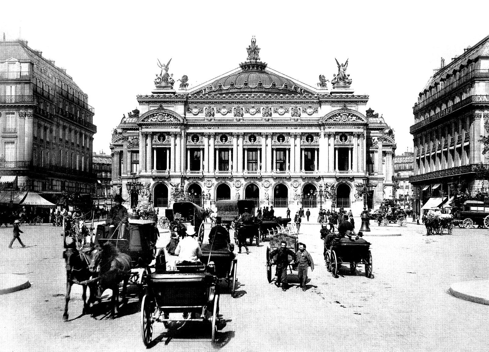 Une photo du 19e siècle de l'Opéra de Paris, avec carrosses d'époque ! A colorier, pour une plongée dans le PasséA partir de la galerie : Paris