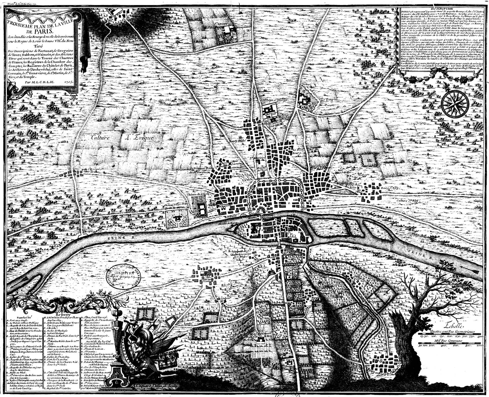 Impressionnant ... Ce plan datant de 1180 est bien un plan de la ville de Paris !A partir de la galerie : Paris
