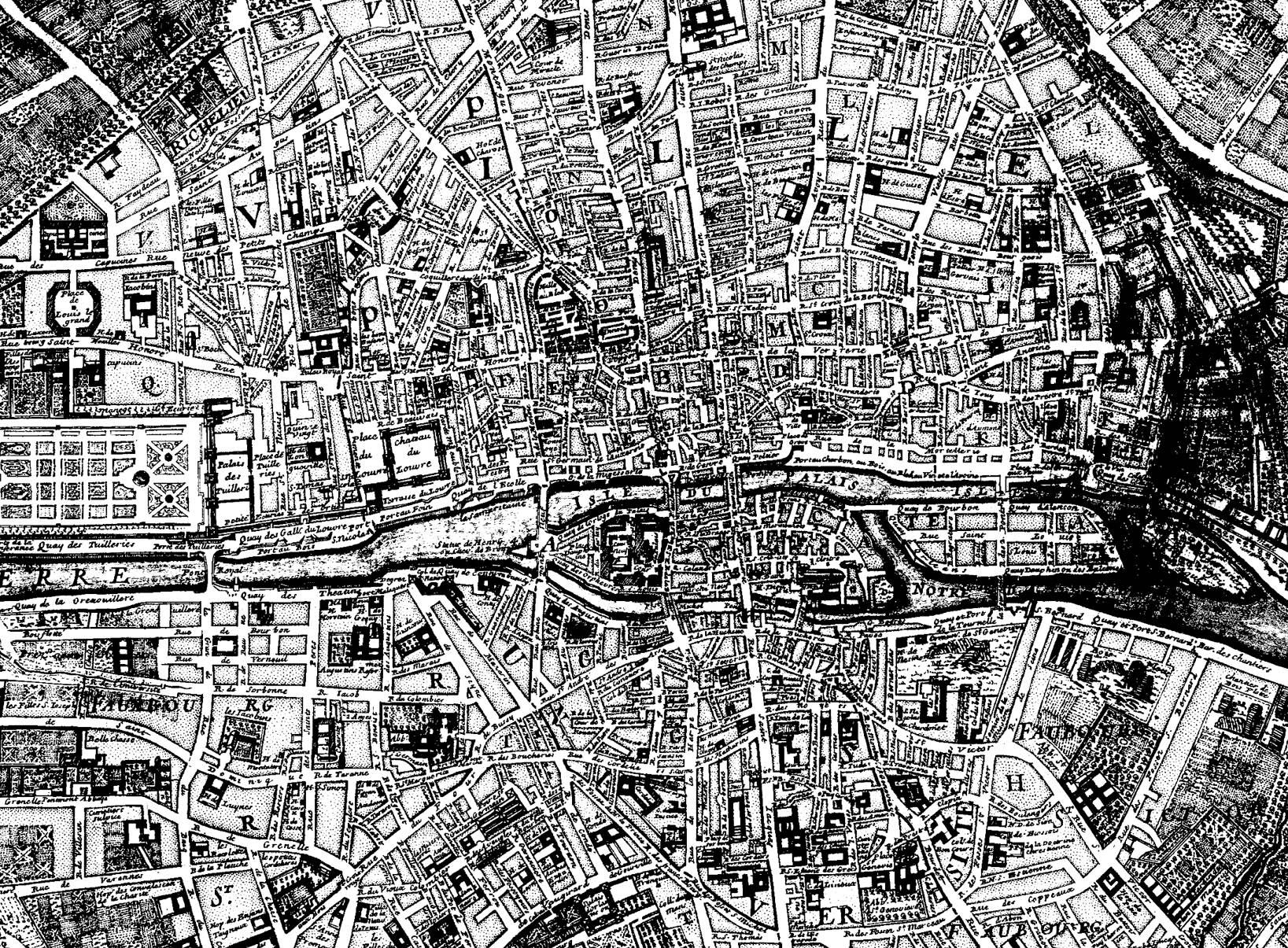 Un plan de Paris datant de 1750, avec des rues clairement définies, qu'il est possible de mettre en couleurA partir de la galerie : Paris