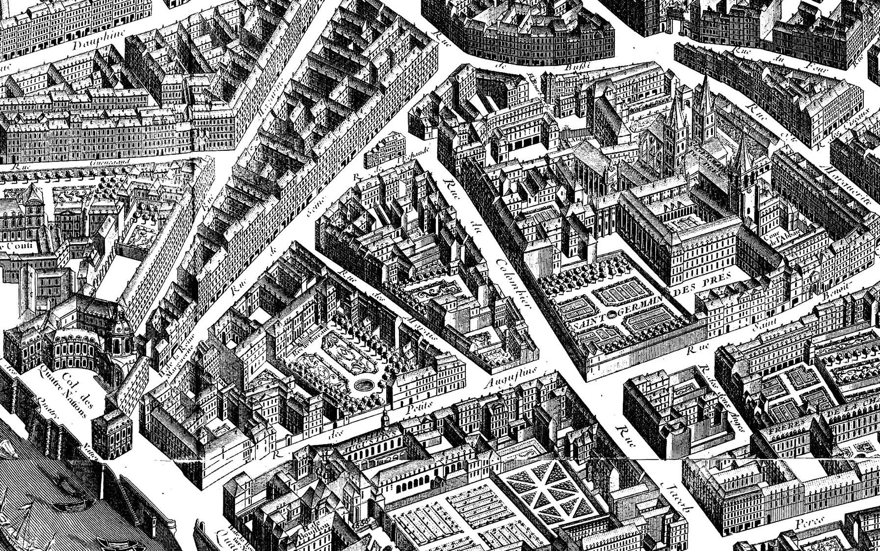 Coloriage adulte difficile réalisé à partir d'un plan en coupe d'un quartier de Paris, datant de 1739. Beaucoup de détails, à colorierA partir de la galerie : Paris