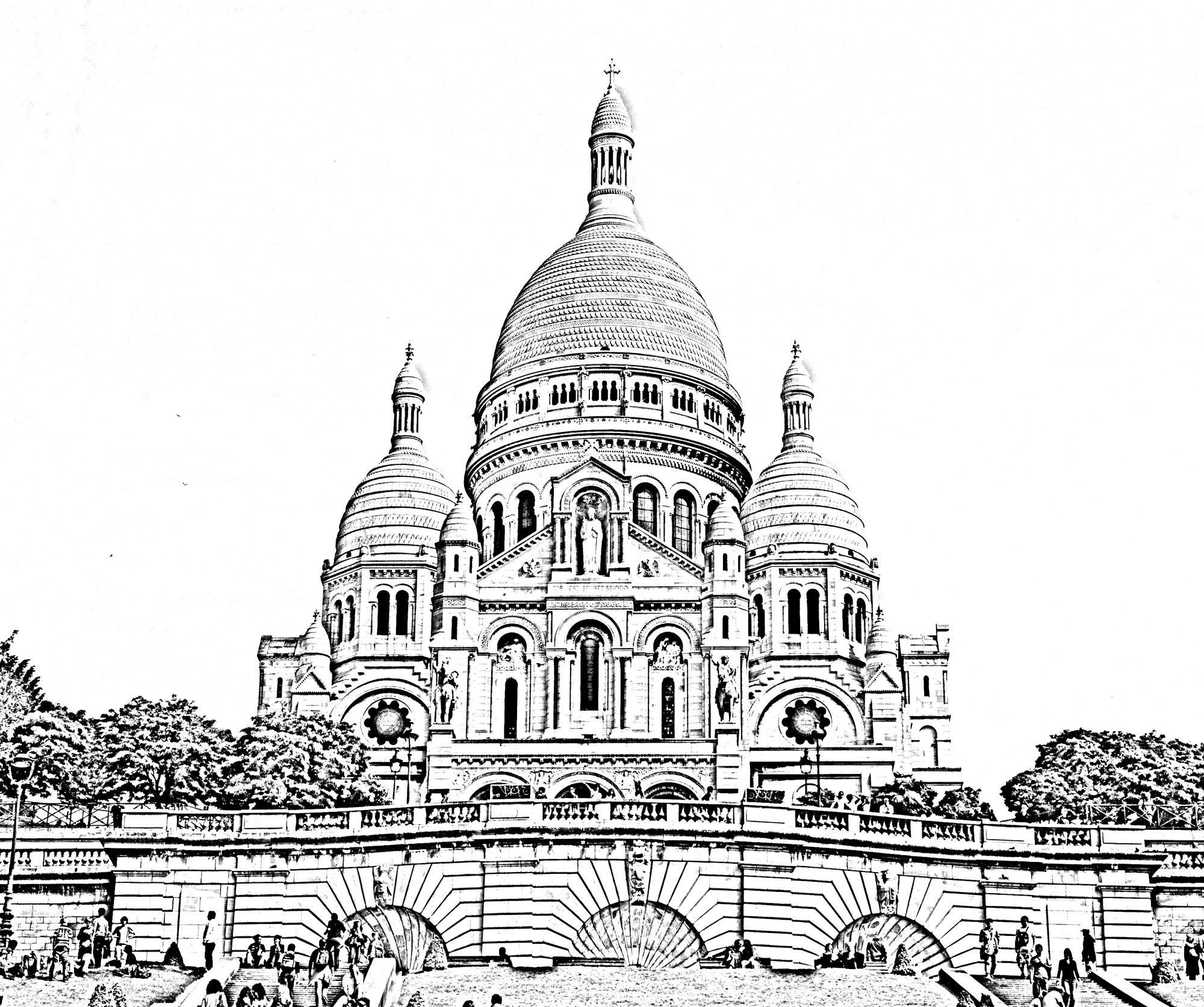Magnifique photo transformée en colorier de la Basilique du Sacré Cœur à ParisA partir de la galerie : Paris