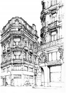 coloriage-adulte-paris-rue free to print