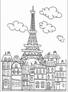 coloriage-adulte-paris-tour-effel-simple free to print