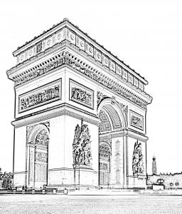 coloriage-paris-arc-triomphe free to print