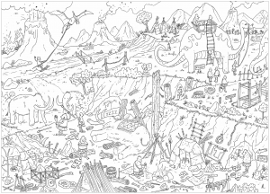coloriage-adulte-complexe-prehistoire free to print