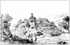 coloriage-adulte-gravure-vanvitelli-vue-d-un-bourg-du-latium-18e-siecle free to print