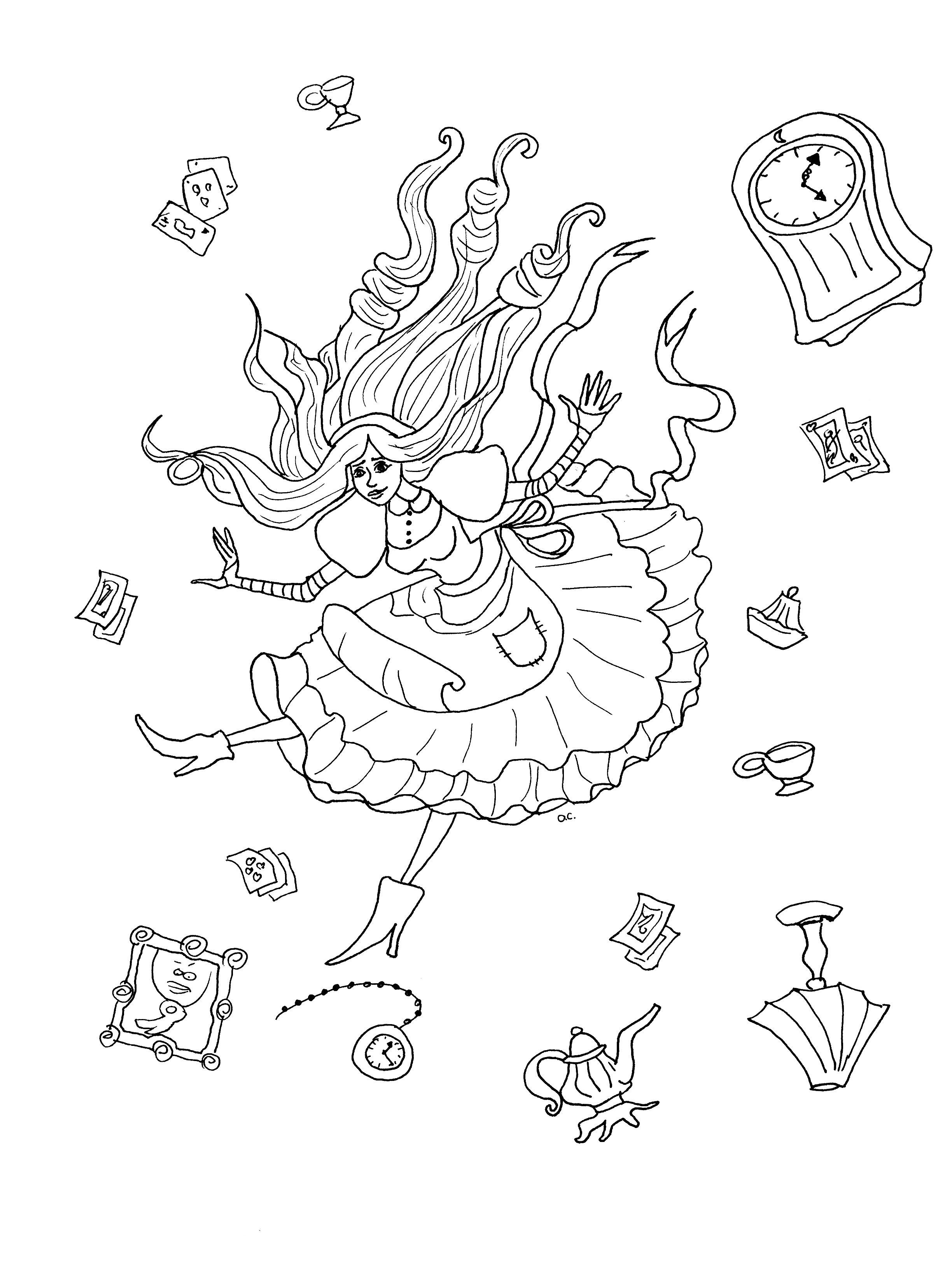 Coloriage original inspiré par Alice au pays des merveilles (version 2 avec objets)A partir de la galerie : Retour En EnfanceArtiste : Olivier