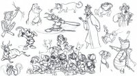 coloriage-adulte-disney-croquis-divers-personnages-2 free to print