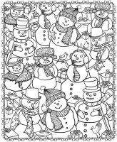 coloriage-adulte-noel-bonhommes-de-neige free to print