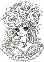 coloriage-adulte-retour-enfance-fille-manga-fleurs free to print