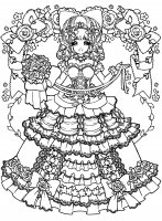 coloriage-adulte-retour-enfance-fille-mangas-robe free to print