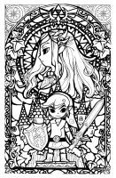coloriage-legend-of-zelda-style-vitrail free to print