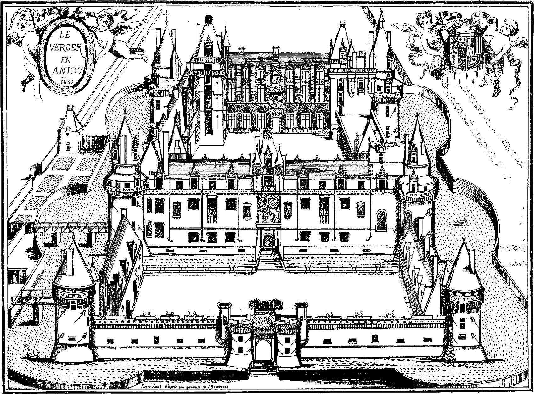 Rois et reines coloriages difficiles pour adultes coloriage chateau du verger gravure - Chateau a imprimer ...