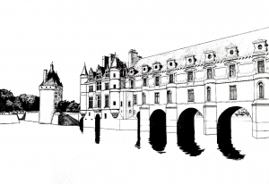 coloriage-adulte-chateau-chenonceau free to print