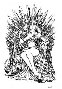 coloriage-adulte-game-of-throne-daenerys_targarya-dragons free to print