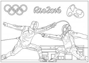 coloriage-rio-2016-jeux-olympiques-escrime free to print